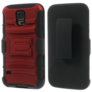 Red for Samsung Galaxy S5 G900 3 in 1 Silicone & Plastic Belt Clip Holster Stand Cover