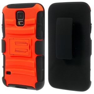 Orange for Samsung Galaxy SV G900 3 in 1 Silicone & Plastic Belt Clip Holster Stand Cover