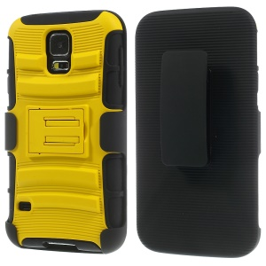 Yellow for Samsung Galaxy SV G900 3 in 1 Silicone & Plastic Combo Case with Belt Clip & Stand