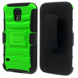 Green 3 in 1 Silicone & Plastic Combo Case w/ Belt Clip & Stand for Samsung Galaxy SV G900