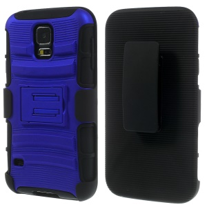 Blue 3 in 1 Silicone & Plastic Hybrid Shell w/ Belt Clip & Stand for Samsung Galaxy SV G900