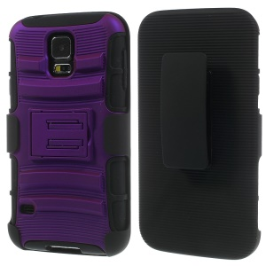 Purple 3 in 1 Silicone & Plastic Hybrid Shell w/ Belt Clip & Stand for Samsung Galaxy SV GS 5 G900