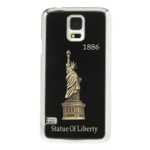 Black 3D Statue of Liberty Design Aluminum Coated Electroplated Hard Case for Samsung Galaxy S5 G900