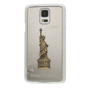 Silver 3D Statue of Liberty Design Aluminum Coated Plated Hard Case for Samsung Galaxy S5 G900