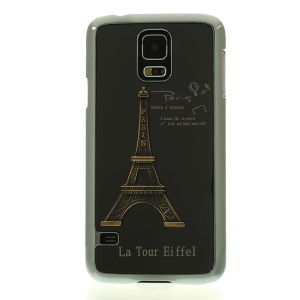 Black 3D Metal Eiffel Tower Plated Hard Back Shell for Samsung Galaxy S5 G900