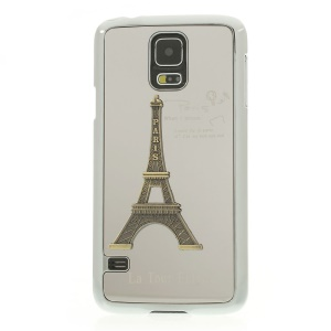 Silver 3D Metal Eiffel Tower Plated Hard Back Case for Samsung Galaxy S5 G900