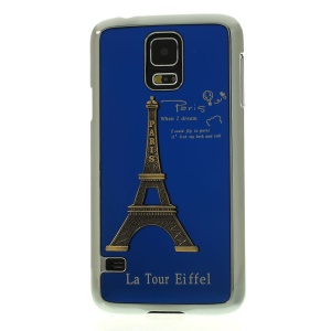 Blue for Samsung Galaxy S5 G900 3D Metal Eiffel Tower Plated Hard Shell