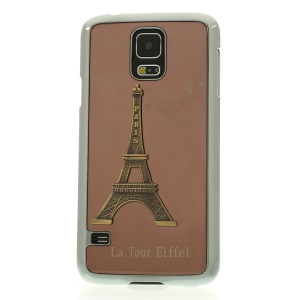 Brown for Samsung Galaxy S5 G900 3D Metal Eiffel Tower Plated Hard PC Cover