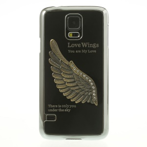 Black for Samsung Galaxy S5 G900 3D Rhinestone Love Wings Electroplated Hard PC Case