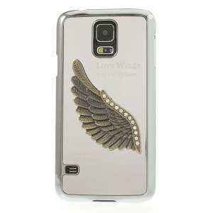 Silver for Samsung Galaxy S5 G900 3D Rhinestone Love Wings Electroplated Hard PC Case