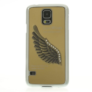 Gold for Samsung Galaxy S5 G900 3D Rhinestone Love Wings Electroplated Hard Cover