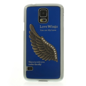 Blue for Samsung Galaxy S5 G900 3D Rhinestone Love Wings Electroplated Hard Cover