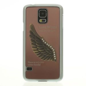 Brown for Samsung Galaxy S5 G900 3D Rhinestone Love Wings Electroplated Hard Shell