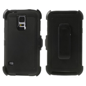 For Samsung Galaxy SV GS 5 G900 Heavy-duty PC & TPU Defender Hybrid Case w/ Belt Clip - Black