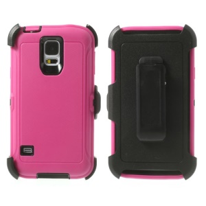 For Samsung Galaxy S5 G900 G900A G900V Heavy-duty PC & TPU Defender Hybrid Shell w/ Belt Clip - Black / Rose