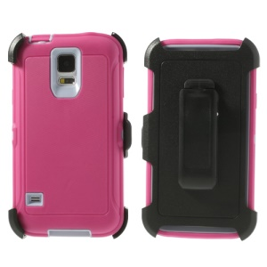 For Samsung Galaxy S5 G900 G900A G900V Heavy-duty PC & TPU Defender Hybrid Shell w/ Belt Clip - Light Purple / Rose