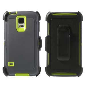 For Samsung Galaxy S5 G900 Heavy-duty PC & TPU Defender Combo Case w/ Belt Clip - Green / Dark Grey
