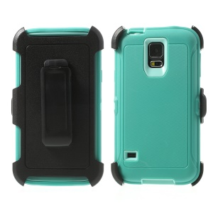 Heavy-duty PC & TPU Defender Hybrid Case for Samsung Galaxy S5 G900 w/ Belt Clip - Baby Blue / Cyan