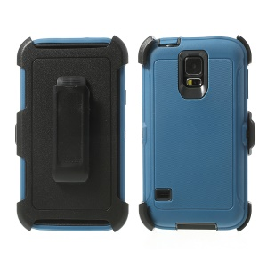 Heavy-duty PC & TPU Defender Protector Case for Samsung Galaxy S5 G900 w/ Belt Clip - Black / Dark Blue