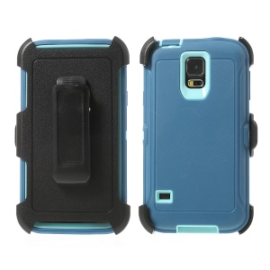Heavy-duty PC & TPU Defender Protector Shell for Samsung Galaxy S5 G900 w/ Belt Clip - Baby Blue / Dark Blue
