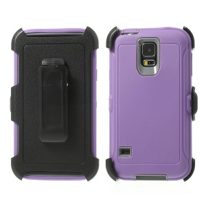Heavy-duty PC & TPU Defender Case Cover for Samsung Galaxy S5 G900 w/ Belt Clip - Grey / Purple
