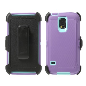 Heavy-duty PC & TPU Defender Shield Case for Samsung Galaxy S5 G900 w/ Belt Clip - Baby Blue / Purple