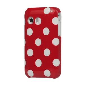 Glossy Polka Dot Plastic Case for Samsung Galaxy Y S5360 - White / Red