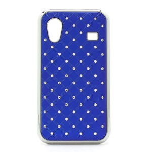 Diamond Bling Rubberized Hard Case for Samsung Galaxy Ace S5830 - Dark Blue