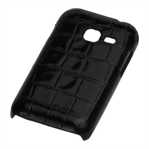 Crocodile Skin Leather Hard Back Case for Samsung Galaxy Ace Duos S6802 - Black