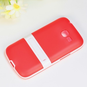 Matte TPU + PC Hybrid Shell w/ Kickstand for Samsung Galaxy Star Pro S7260 S7262 - Red