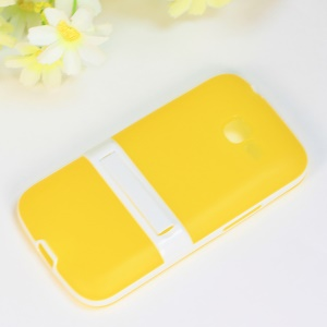 Matte TPU + PC Hybrid Back Case for Samsung Galaxy Star Pro S7260 S7262 - Yellow