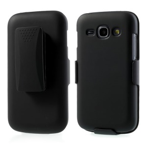 2 in 1 Glossy Rubberized Plastic Case for Samsung Galaxy Ace 3 S7275 S7272 S7270 w/ Belt Clip Holster & Kickstand