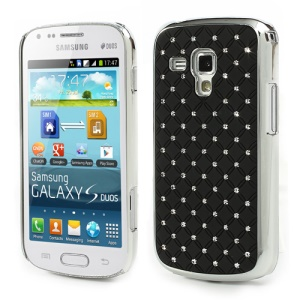 Fish Scale Rhinestone Hard Protective Case for Samsung Galaxy S Duos S7562 S7560 S7560M S7582 S7580 - Black