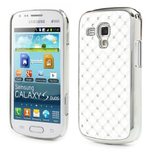 Fish Scale Rhinestone Hard Protective Case for Samsung Galaxy S Duos S7562 - White