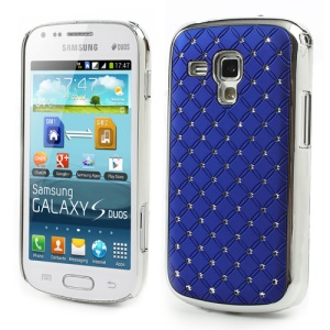 Fish Scale Rhinestone Hard Protective Case for Samsung Galaxy S Duos S7562 - Dark Blue