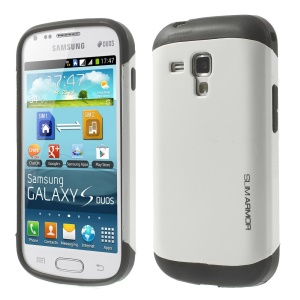 For Samsung Galaxy S Duos S7562 / Duos 2 S7582 Glossy PC + TPU Hybrid Shell - White