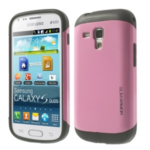 For Samsung Galaxy S Duos S7562 / Trend S7560 Glossy PC + TPU Cover Shell - Pink
