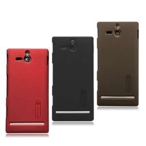 Nillkin Super Matte Hard Back Case for Sony Xperia U ST25a / ST25i Kumquat + LCD Film;Red