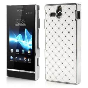 Starry Sky Rhinestone Plating Hard Case for Sony Xperia U ST25a / ST25i Kumquat - White