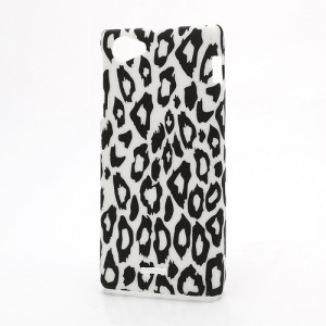 Fashion Leopard Rubberized Hard Case Cover for Sony Xperia J ST26i ST26a