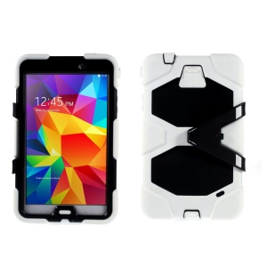 Military Duty PC + Silicone Hybrid Shell Case for Samsung Galaxy Tab 4 8.0 T330 T331 T335 - White