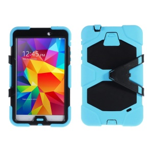 Military Duty PC + Silicone Combo Case w/ Stand for Samsung Galaxy Tab 4 8.0 T330 - Baby Blue