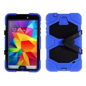 Military Duty PC + Silicone Combo Cover w/ Stand for Samsung Galaxy Tab 4 8.0 T330 - Dark Blue