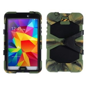 Military Duty PC + Silicone Hybrid Case w/ Stand for Samsung Galaxy Tab 4 8.0 T335 - Camouflage
