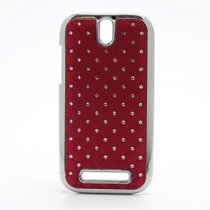 Shiny Starry Sky Rhinestone Hard Back Case for HTC One SV One ST T528t - Red