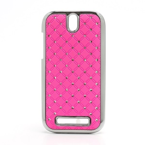 Shiny Starry Sky Rhinestone Hard Back Case for HTC One SV One ST T528t - Pink