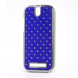 Shiny Starry Sky Rhinestone Hard Back Case for HTC One SV One ST T528t - Dark Blue