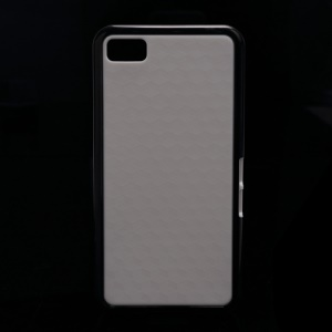 Cube Style For BlackBerry Z10 BB 10 TPU & Plastic Hybrid Cover - White / Black