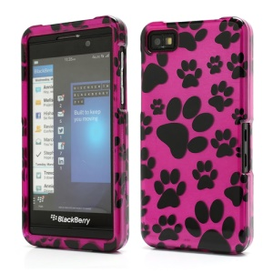 Footprint Design Snap-On Hard Back Case for BlackBerry Z10 BB 10 - Black / Rose