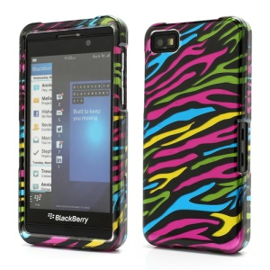 Colorful Zebra Stripe BlackBerry Z10 BB 10 Combo 2 in 1 Snap-On Hard Case Cover